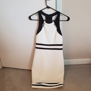White and black fitted dress